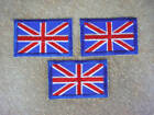 """3 x Iron on Patch Union Jack UK Flag Woven Sew 2""""x1 1/4"""" (50mm x 32mm)"""