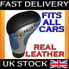 NEW REAL LEATHER CAR GEAR STICK KNOB BLUE UNIVERSAL FIT