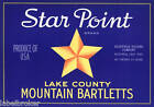 CRATE LABEL VINTAGE STAR POINT LAKE COUNTY POSTER ART