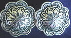 1  INCH FLORAL STAINLESS CONCHO PAIR BLACK ACCENTS