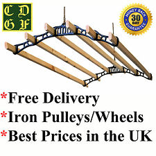 6 LATH INDOOR CLOTHES AIRER PULLEY WOODEN VINTAGE DRYER