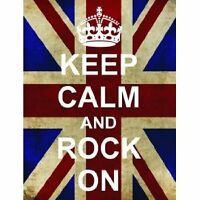 S2513 KEEP CALM AND ROCK ON FUNNY UNION JACK METAL SIGN