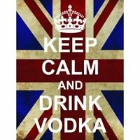 S2516 KEEP CALM DRINK VODKA FUNNY UNION JACK METAL SIGN