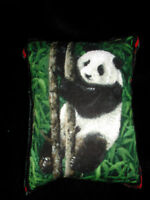 Pin Cushion Panda Bear velvet reverse organza gift bag