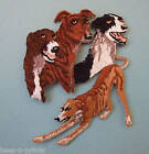 IRON-ON EMBROIDERED PATCH - GREYHOUNDS - MONTAGE - DOG