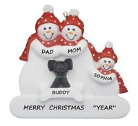 Personalized Snowman Family of 3 w/ Dog Christmas Ornament
