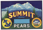 *Original* SUMMIT Pear Label COLFAX Placer Nevada NOT A COPY!
