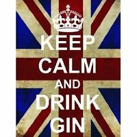 L2517 LARGE KEEP CALM DRINK GIN FUNNY UNION JACK METAL SIGN NEW