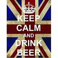 L2515 LARGE KEEP CALM DRINK BEER FUNNY UNION JACK METAL SIGN NEW