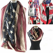 NEU ☆XXL ☆USA ☆AMERIKA LOOP SCHAL TUCH RUNDSCHAL Stars and Stripes Sterne☆NEU☆01