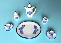 Dolls House Miniature:    Coffee Set   white with blue pattern    12th scale