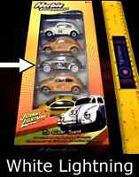 WHITE LIGHTNING HERBIE THE LOVE BUG FULLY LOADED DIECAST 5 CAR SET A JOHNNY  NEW