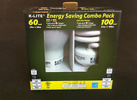 2 K-Lite Energy Saving Combo Pack Light Bulbs 60 & 100 Watt Warm White Light