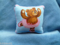 Ballerina Bear Pin Cushion dressed in Pink Velvet reverse & organza gift bag New