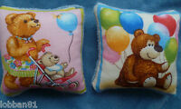 Teddy Bear Pin Cushions x 2 Celebration Balloons Velvet in organza gift bag New