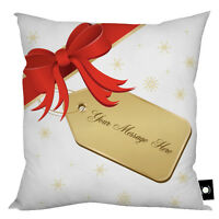 """PERSONALISED CHRISTMAS PRESENT TAG DESIGN CUSHION GIFT HOME DECOR 18"""" X 18"""""""