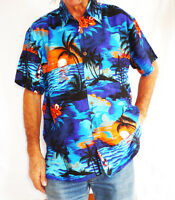 "LOUD Hawaiian shirt, blue with palms/ orange sunsets, L, 52"", new, stag night"