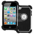 White & Black Armor Shock Proof Protective Back Cover Case for iPod Touch 4 4G