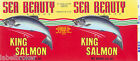 TIN CAN LABEL VINTAGE SALMON OCEAN FISH SEA BEAUTY SEATTLE 1960S GRAPHICS KING