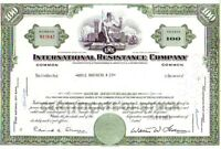 Broker Owned Stock Certificate:  Orvis Brothers Co, payee; Int'l Resist, issuer