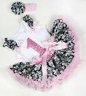 Light Pink Damask Baby Pettiskirt Birthday Number 1ST Ruffle Bow White Top 3-12M