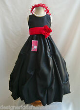BLACK RED DARK PINK PURPLE PLUM PAGEANT PARTY FLOWER GIRL DRESS 2 4 6 8 10 12 14