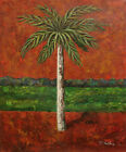 "Contemporary Oil Painting of Palm Tree On Filed Portrait 20""x24"" Landscape"