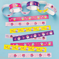 60 Brightly Coloured Paper Chains Lick & Stick in 5 CUPCAKE PATTERNS NEW