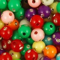 200 Mixed Colour Silver Studded Acrylic Round Beads 6mm