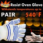 OVEN GLOVE x 2 Grill Hob Fire Place BBQ Heat Protection Proof Flame Retardant