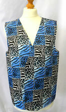 BLUE ANIMAL PRINT DESIGN WACKY WAISTCOAT FUN & FANCY FOR ALL OCCASIONS & PARTIES