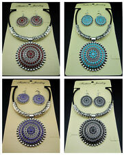 Free Tibetan silver flower Earrings Leather necklace Tibet Jewelry sets 4color