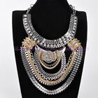 Vintage Women Big Statement Multi Gold Silver Chunky Chain Pendant Necklace New