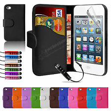 New Leather Wallet Flip Case Cover For APPLE iPod Touch 4 4th Gen 4G & Protector