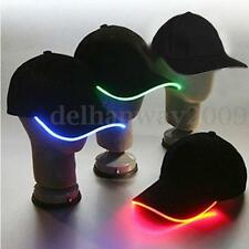 LED Lighted Glow Hat Black Fabric Baseball Golf Hip-hop Sports Cap Men Women NEW