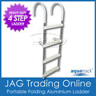 AQUATRACK HEAVY DUTY 4 STEP ALUMINIUM FOLDING BOARDING LADDER - Boat/Yacht/Pool