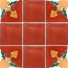 SET #063) With NINE Mexican Tiles Ceramic Clay Handcrafted Mexico