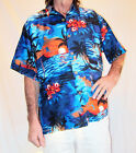 LOUD HAWAIIAN SHIRT BLUE/ORANGE SUNSETS & Hibiscus flowers STAG NIGHT HOLIDAY
