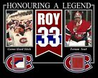 PATRICK ROY HONOURING A LEGENDS PHOTO W/ GAME USED STICK & MONTREAL FORUM SEAT
