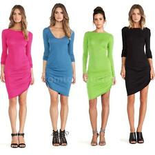 Fashion New Women Bodycon Irregular Candy Color Scoop Neck Long Sleeve Dress