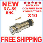 10 BNC COMPRESSION CONNECTOR RG59 CCTV COAX CABLE FITTING ADAPTER COAXIAL MALE