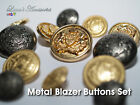 Set of 10 Die Cast Metal Embossed Emblem Blazer Buttons (3 Large and 7 Small)