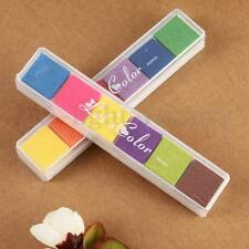 Multi 6 Colors Ink Pad Oil Based DIY Craft For Rubber Stamps Paper Wood Fabric