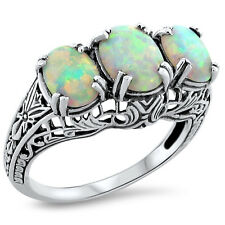 WHITE LAB OPAL .925 STERLING SILVER ART DECO ANTIQUE DESIGN RING,          #214