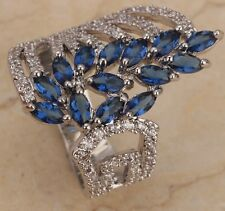 Sapphire blue GORGEOUS Gemstone Silver Rings US#Size5 6 7 8 9 T0286