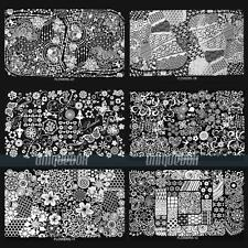 Nagel Schablone  FLOWERS  PRETTY Nail Art Stamp Stamping Template Plates