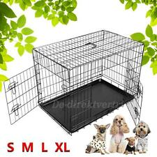 """Folding 2 Doors Open Wire Pet Crate Dog Cat Puppy Cage Suitcase 24""""/30""""/36""""/42"""""""