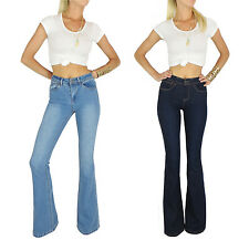 HIGH WAIST FLARE 70'S LONG WIDE LEG BELL BOTTOM JEANS DARK MEDIUM WASH S M L
