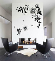 Large Flower Butterfly Tree Wall Art Stickers Wall Decals bn