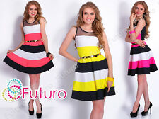 Party Striped Skater Dress With Belt Mesh Scoop Neck Tunic Sizes 8-14 FC1531